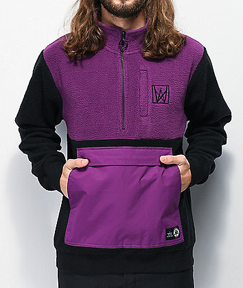 Welcome Icon Purple & Black Anorak Fleece Jacket