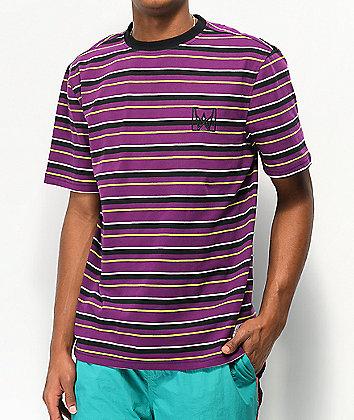 Welcome Icon Stripe Purple & Black T-Shirt