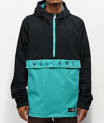 Welcome Scrawl Black & Teal Anorak Jacket