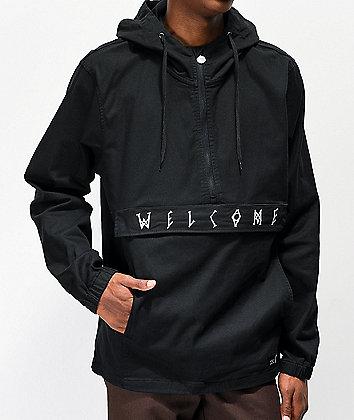 Welcome Scrawl Black Anorak Jacket