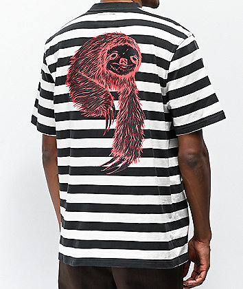 Welcome Sloth Black, White & Red Striped T-Shirt