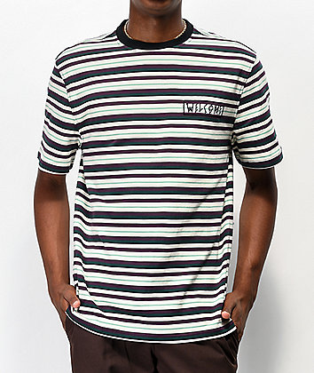 Welcome Surf Stripe Bone & Purple Striped T-Shirt