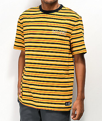 Welcome Surf Stripe Gold & Black T-Shirt