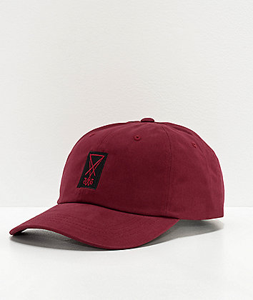 Welcome Symbol Peached Twill Maroon Strapback Hat