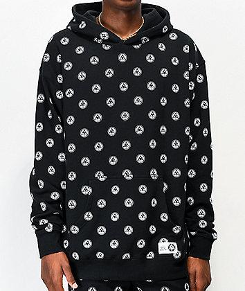 Welcome Tali-Dot Allover Print Black Hoodie