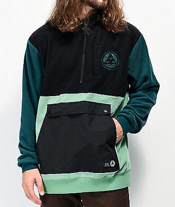 Welcome Talisman Black, Green & Dark Turquoise Anorak Fleece Jacket