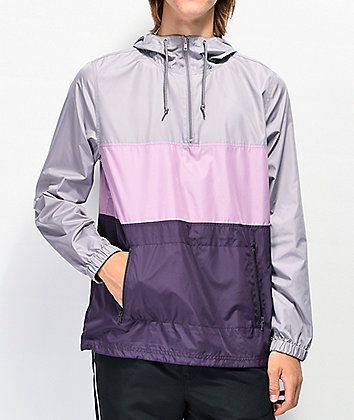 Zine Barry Grey & Purple Colorblock Windbreaker Jacket