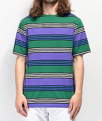 Zine Bonus Purple, Green & Black Striped T-Shirt