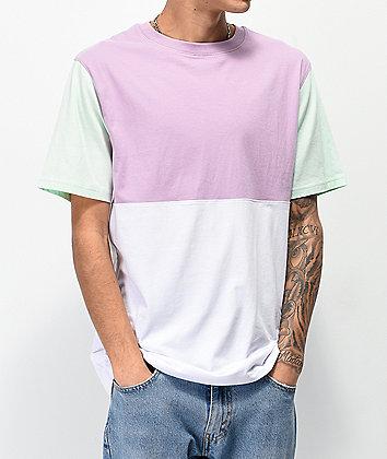Zine Choice Block Lavender, Aqua & White T-Shirt