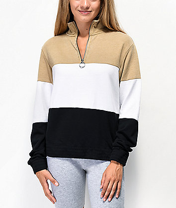 Zine Darby Black, White & Brown Quarter Zip Sweatshirt