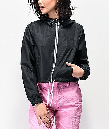Zine Dayami Black Crop Windbreaker Jacket