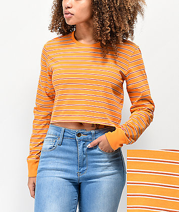 Zine Hannah Orange Striped Crop Long Sleeve T-Shirt