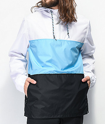 Zine Larry Blue, Black & White Colorblock Windbreaker Jacket