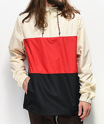 Zine Larry Cream, Black & Red Colorblock Windbreaker Jacket