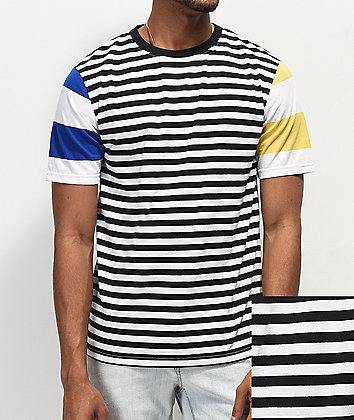 Zine Offset Mix Stripe Black, Blue & Yellow T-Shirt