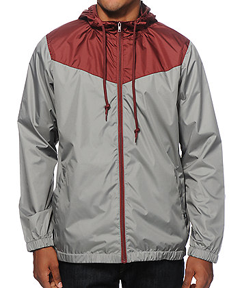 Zine Sprint Burgundy & Grey Windbreaker Jacket