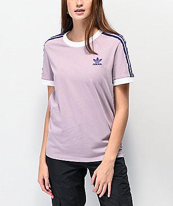 adidas 3 Stripe Purple T-Shirt
