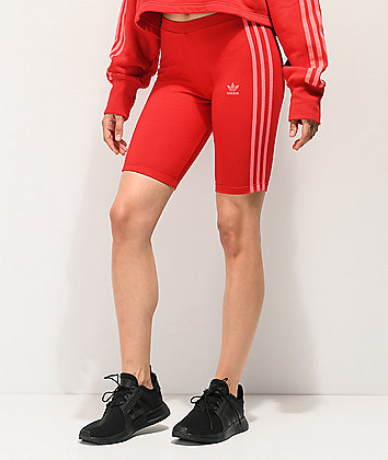 adidas 3-Stripe Scarlet Bike Shorts