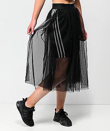 adidas 3 Stripe Tulle Black Skirt