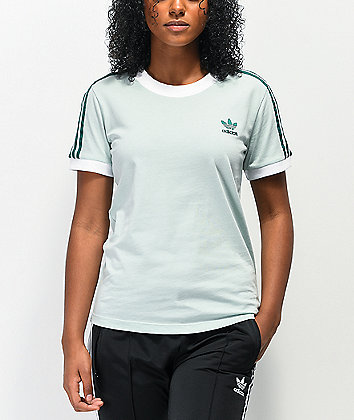 adidas 3 Stripe Vapour Green T-Shirt