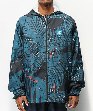 adidas Allover Print BB Teal Windbreaker Jacket