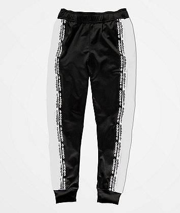 adidas Boys Logo Tape Black & White Track Pants