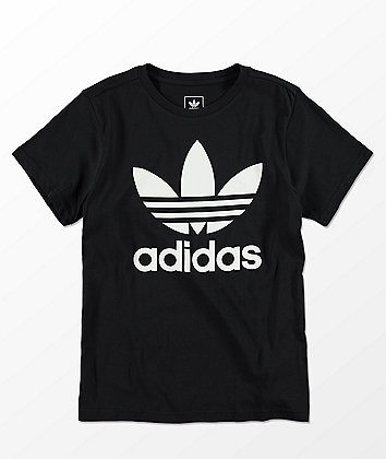 adidas Boys Trefoil Black & White T-Shirt
