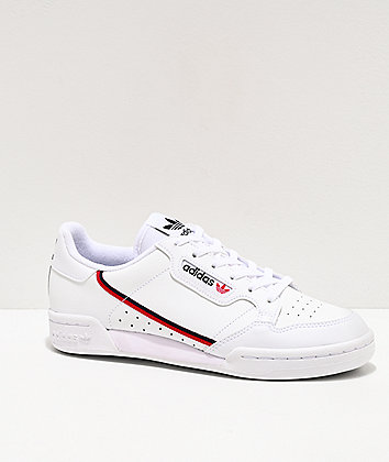adidas Continental 80 J White, Red & Navy Shoes