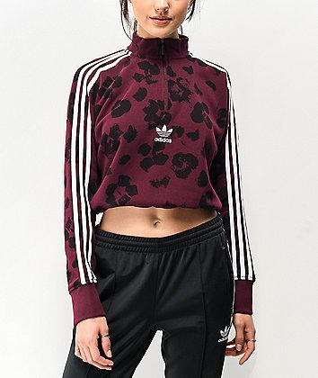 adidas Dark Floral Quarter Zip Crop Sweatshirt