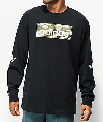 adidas Linear Camo Black Long Sleeve T-Shirt