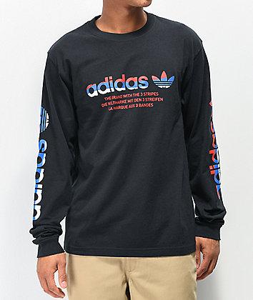 adidas Linear Logo Black Long Sleeve T-Shirt