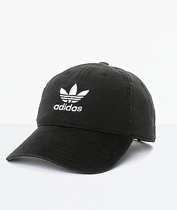 adidas Men's Trefoil Curved Bill Black Strapback Hat