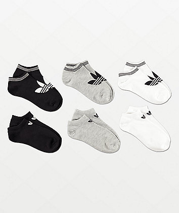 adidas Originals Trefoil White, Grey & Black 6 Pack No Show Socks