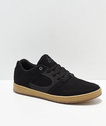 eS Accel Slim Black, Grey & Gum Skate Shoes