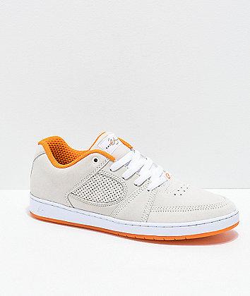 eS x The Nine Club Accel Slim White & Orange Suede Skate Shoes