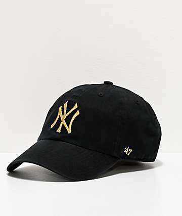 '47 NY Yankees Gold Script Black Strapback Hat