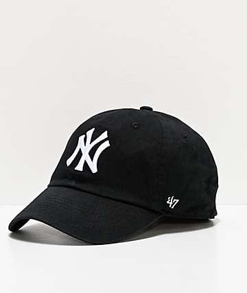 '47 NY Yankees White Script Black Strapback Hat