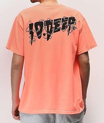 10 Deep Barbed Wire camiseta coral neón