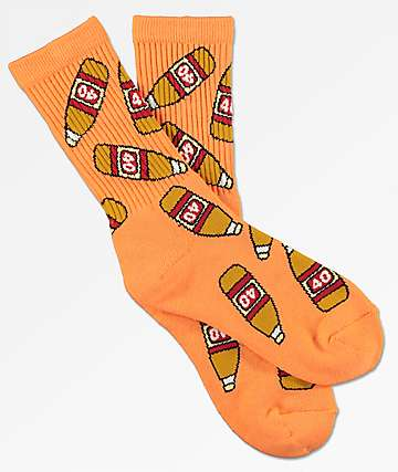 40s & Shorties Bottles Peach Crew Socks