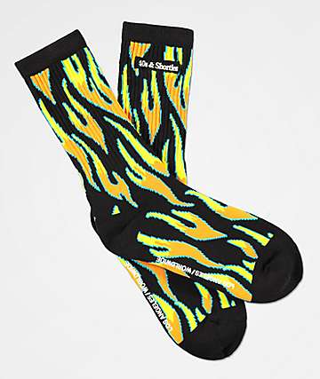 40s & Shorties Fire Black Crew Socks