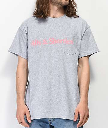 40s & Shorties Text Logo Grey Pocket T-Shirt
