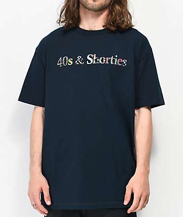 40s & Shorties Text Logo Lifestyle Navy T-Shirt