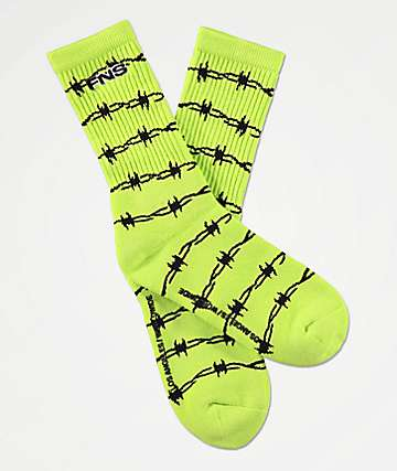40s & Shorties Wired Neon Green Crew Socks
