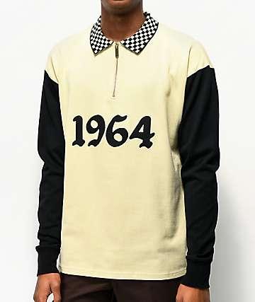 4Hunnid 1964 Black & Beige Long Sleeve Polo Shirt