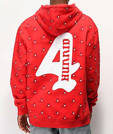 4Hunnid Allover Logo Red Hoodie