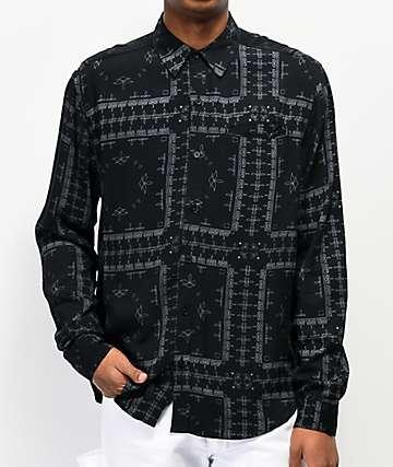 4Hunnid Bandana Black Woven Long Sleeve Button Up Shirt