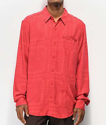 4Hunnid Bandana Red Woven Long Sleeve Button Up Shirt
