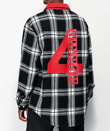 4Hunnid Cord Collar Red, Black & White Flannel Shirt