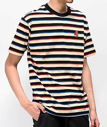 4Hunnid Cream & Black Striped T-Shirt