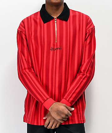 4Hunnid Polo Red Striped Rugby Shirt
